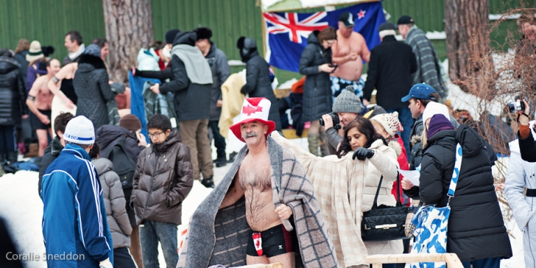 Just some of the many nationalities represented at the plunge.